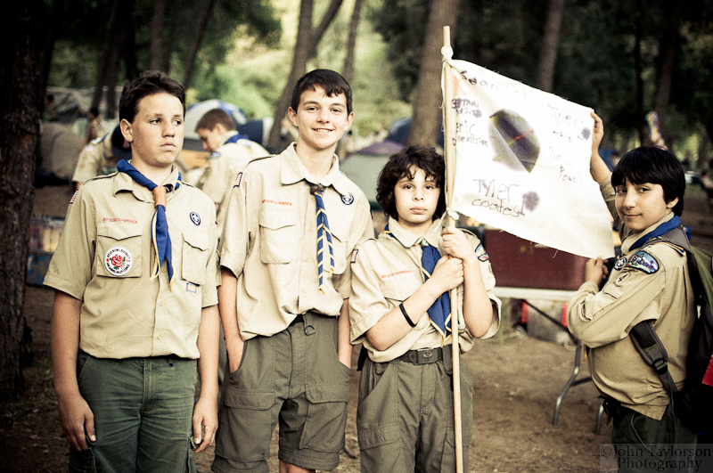 Scouts display their patrol flag with pride