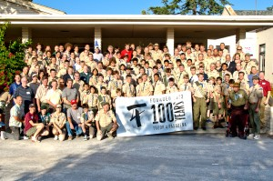 Current, as well as past Scouts and leaders join together for a group photo
